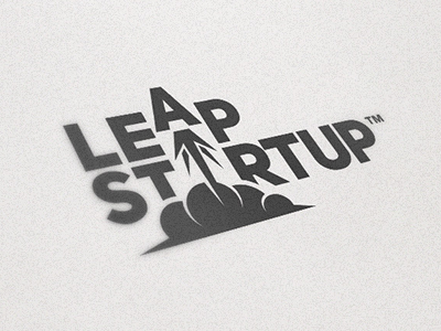 Leap Startup logo typography branding design rocket leap startup black