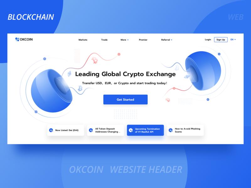 Okcoin blockchain official website header line transaction website more login circular button banner ad web blue blockchain