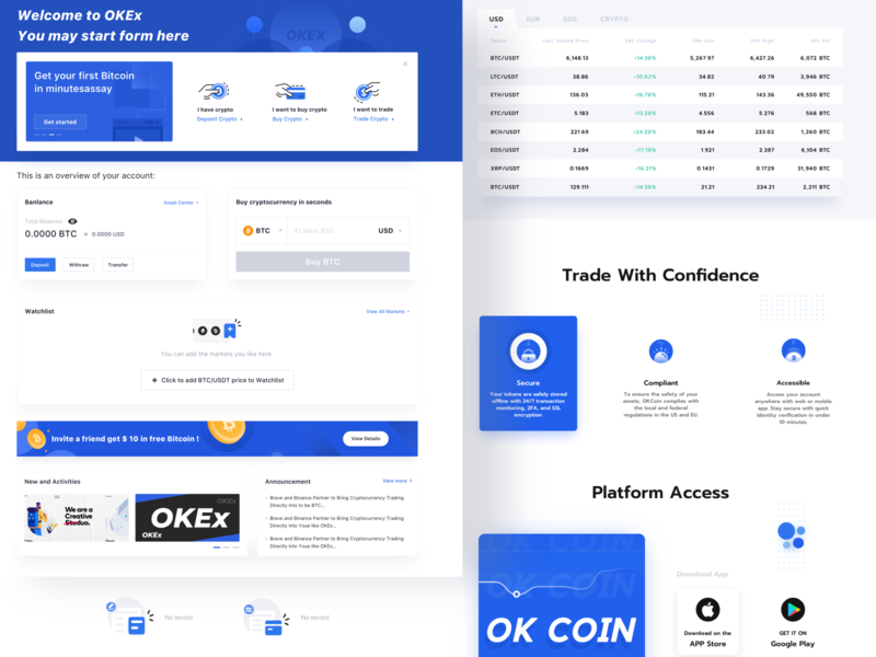 Blockchain novice page display add click buy banlance blued secure download trade get start coin banner icon button web blockchain