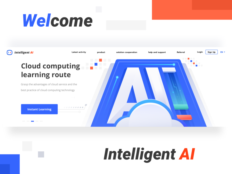 The design of the head map page of the intelligent website product help sign up login instant computing learning cloud intelligent welcome blued red banner logo icon button 插图 blockchain ui