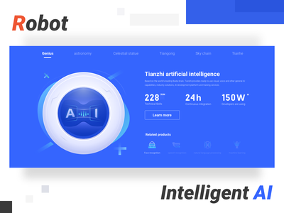 AI product function page speech recognition face detection face voice eye blued intelligent robot button icon illustration