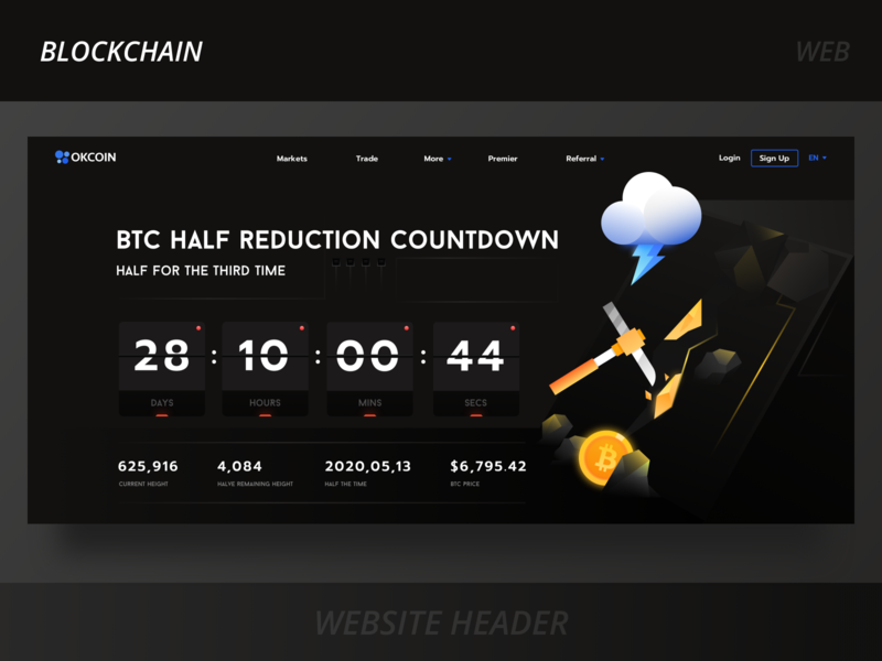 Bitcoin half active webpage prompt page login banner cybermoney halve yellow blakc secs mins hours days count down illustration mineral mining gold time cloud coin blockchain