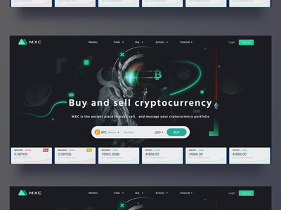 Design of digital currency exchange official website header for sell buy coin exchange starry sky astronaut design logo blockchain 插图 green 黑色