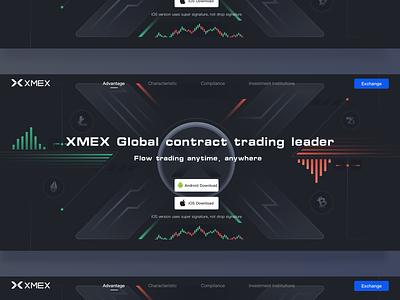 Xmex exchange website design button download circular web green x blue red black coin exchange blockchain