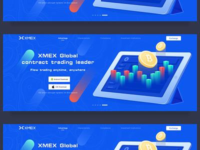 Xmex exchange website design leads download exchange green blue transaction design illustration blockchain banner web