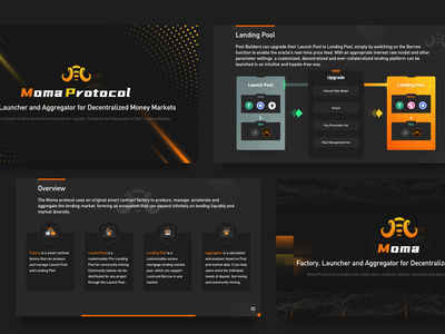 PPT page of blockchain project key icon set lettering lending pool lending pool orange yellow logodesign number black icon blockchain ui