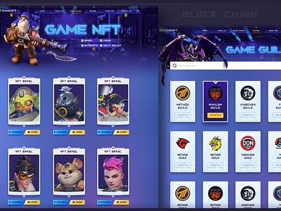 Blockchain game NFT project banner start button web nft illustration ui blockchain game