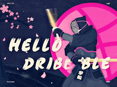 Hello Dribbble inbetweening photoshop illustrator app ui kendo sakura drawing