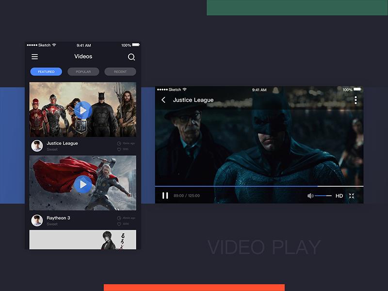 VIDEO PAGE list search bar progress label black ui video movie