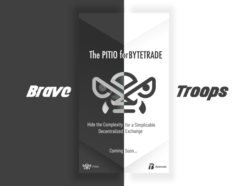 Brave Troops blockchain balance contrast poster white logo brave troops line 块 黑色 ui