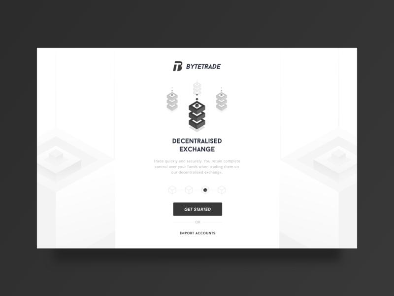 Bytetrade web Guide page white web guide button blockchain 块 黑色 ui