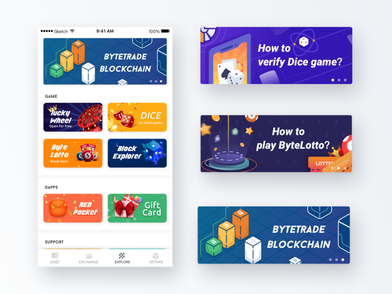 Bytehub Composite pages for games lucky wheel red pocket gift card byte lotto dice banner game blockchain ui