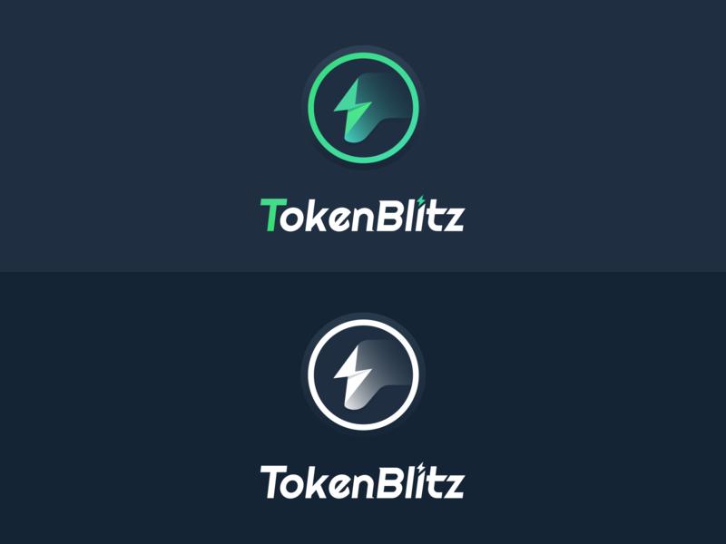 TokenBlitz logo digital currency green handle lightning game 商标 blockchain 黑色 ui