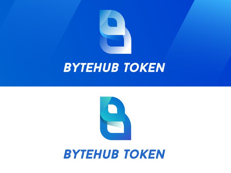 Bytehub token logo combination gradual change blockchain token b logo blue 设计 logo
