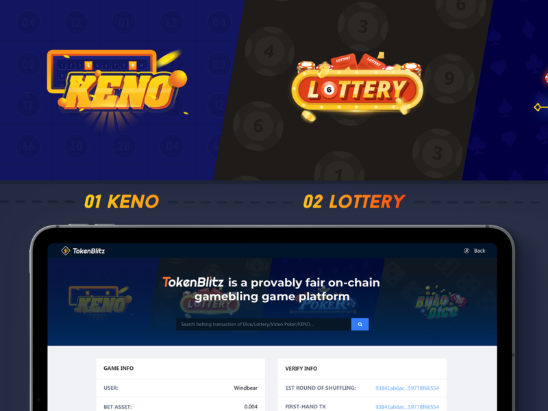 Tokenblitz game black banner input box search web bytedice lottery keno game blockchain