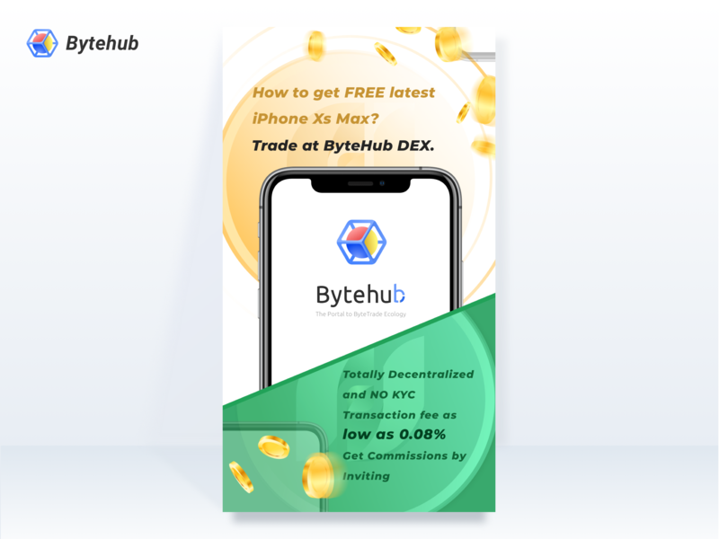 Design of Operational Poster for Bytehub Trading Competition circle iphone green yellow coin branding design bytehub blackchain poster