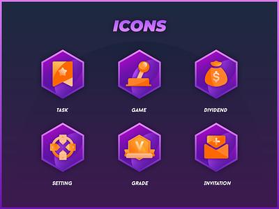 Block Chain Game Icon icon invitation grade setting dividend game task violet gradual change blockchain ui