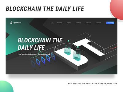 Bytetrade blockchain web page red button green lightning line white black transaction t b web speed blockchain ui