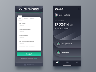 Block Chain Wallet page card digital currency gold e du button green icon sign up page account wallet blockchain 黑色 ui