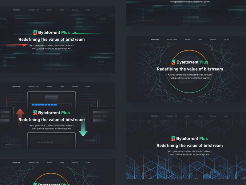Block Chain New Product Official Head Map Design line circle banner ad green transmission speed number red 插图 blockchain ui