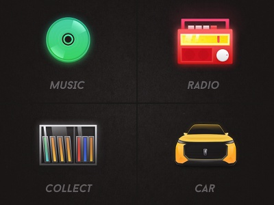 Design of automotive theme Icon yellow greens red icon collect radio music car button green ui