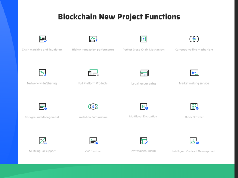 Block Chain Web Page Function Icon networks products full bank card support commission market exchange speed uiux kyc pay green blue icon button 插图 黑色 ui