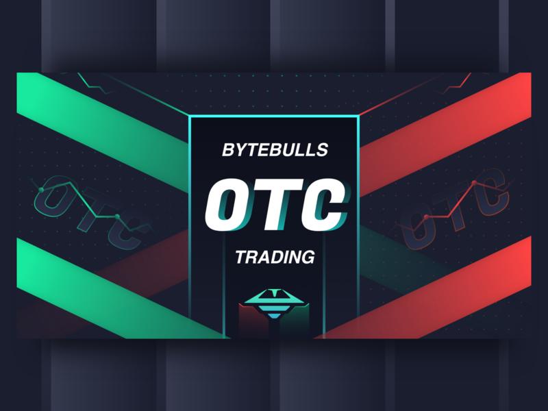 blockchain OTC new function promotion black banner trading logo design red green ui web