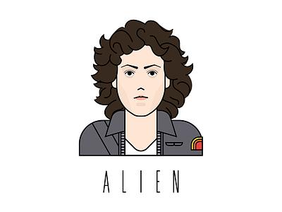 Ellen Ripley drawing sci-fi space character design alien vector illustration