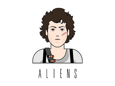 Ellen Ripley '86 feminist woman powerful fighter illustrator fanart art illustration vector design sigourney weaver aliens