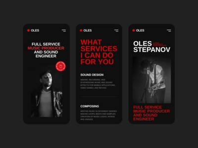 Oles Stepanov Mobile music mobile mobile design typography sound musician minimal ux ui website web interface