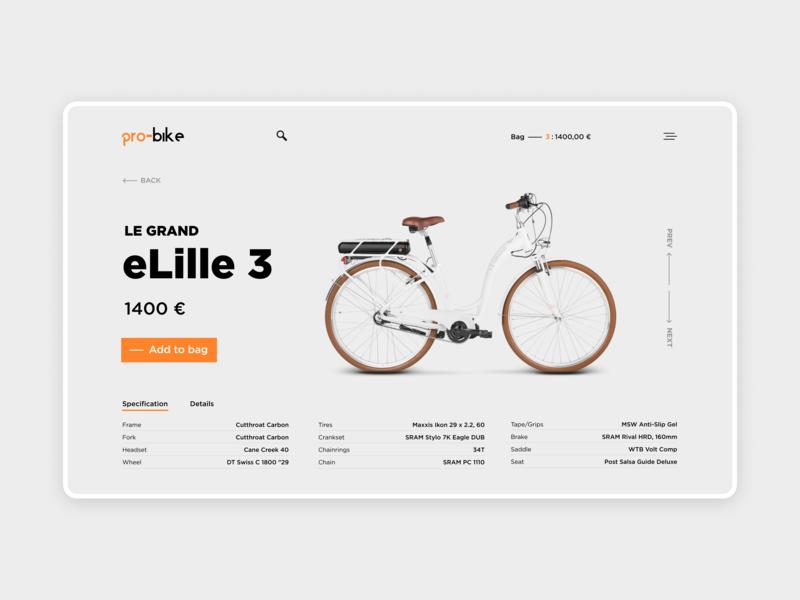 Bikes Shop / Product Page product page interface web bike ui
