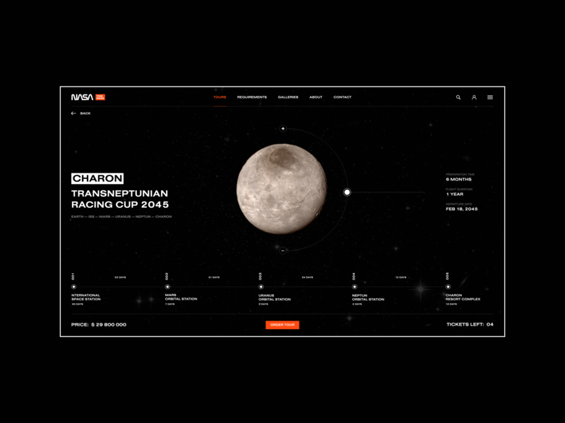 Space Tour   TNS2045   NASA minimal interface space travel challenge space nasa webdesign website web ui ux