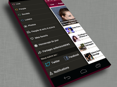 aufeminin news menu - android version