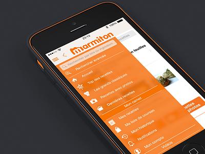 Marmiton Menu iOS7 marmiton recipes ios7 aufeminin sketchapp menu food blur slide orange