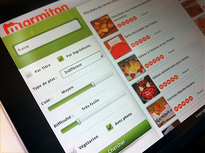 Marmiton - Android Tablet App ui recipe search android tablet art director