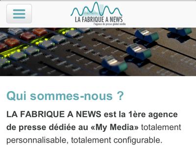 LA FABRIQUE A NEWS - V2 mobile version journaliste mobile agence de presse
