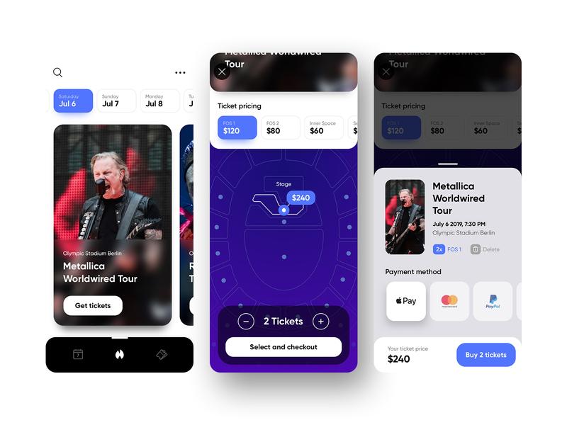 Ticket App Concept ui  ux concept cart checkout event app events concerts ticket booking ticket app tickets