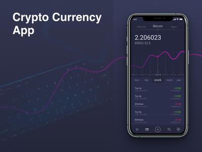 Crypto Currency App Dashboard balance bank data datavisualisation creative uxdesigns uxdesign mockup dashboard cryptocurrency crypto mobile ui design