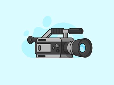 Video Camera Illustration affinitydesigner affinity color clean visual visual design vector figma tape shadows shadow colour illustration record black grey blue camera videocamera video