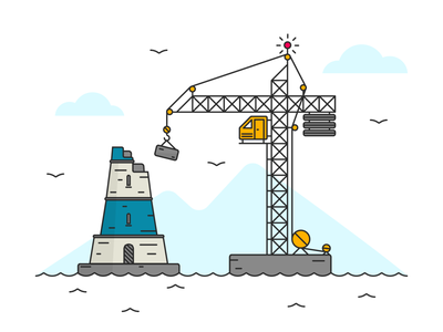 Lighthouse Under Construction adobe illustrator building waves birds blue vector illustration crane under construction lighthouse