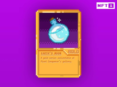 Pixel Conqueror - Earth's Moon NFT sale trading card trading crypto rariblr pixel art graphic design illustration card fantasy art pixel opensea nft