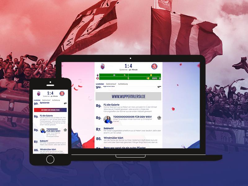 Liveticker Wuppertaler Sportverein website responsive football wuppertaler sportverein sports soccer ticker liveticker