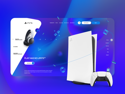 Playstation 5 Landing Page concept graphic design inspiration branding creative game ps5 playstation5 website web design ui ux design web