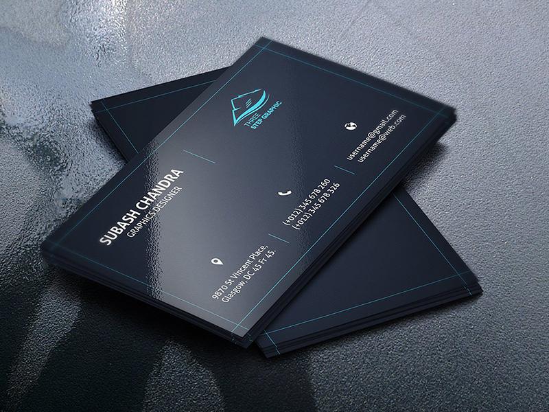Corporate Business Card creative market simple professional print official modern design landscape flyer card designer card business card both side design