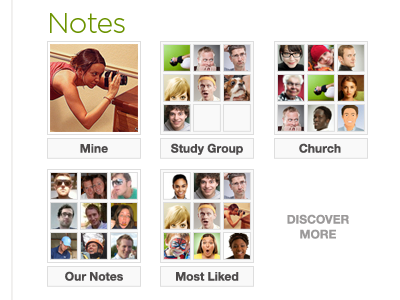 Notes notes selection menu friendships groups