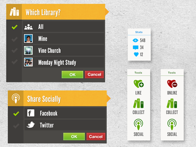 Menu Designs Mocks menu options like collect