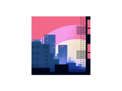 City Life moon balcony life town buildings illustration design vector city