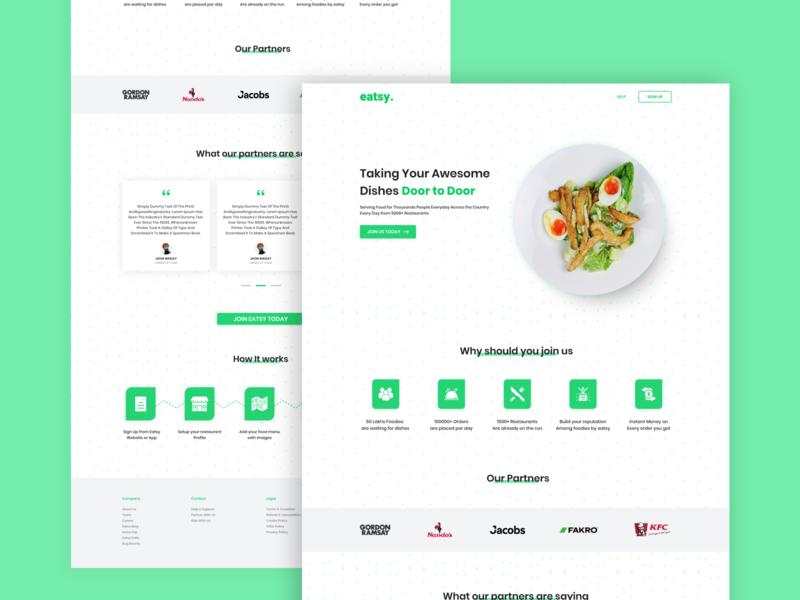 Food Delivery Service Landing Page landing page website website design delivery delivery service food ux design ux green concept clean ui minimal