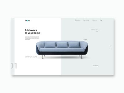 Landing page for online designer furniture store Concept