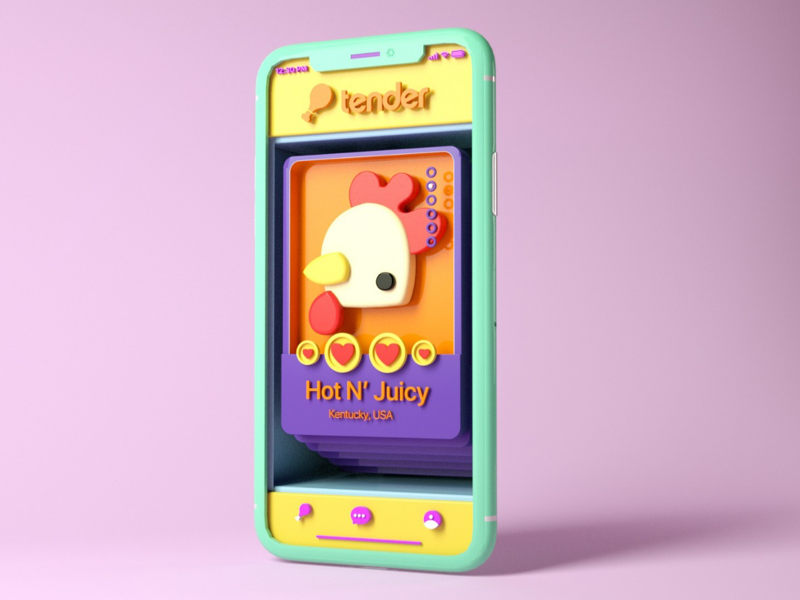 🍗 Cute TENDER Sh*t🍗 app iphone colors 3d illustration c4d tinder chicken
